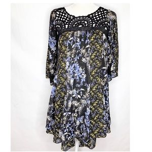 Free People | Black Floral Crochet Babydoll Dress